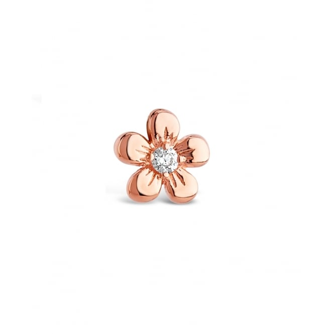 Cute Flower Shaped Rose Gold Plated Earrings with Crystal Glass Stone feature. 10mm Drop.