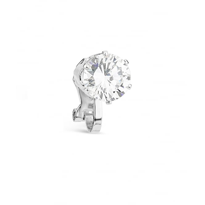 Clip On Cubic Zirconia Single Cluster Earring with Rhodium Plating. 12mm Drop.