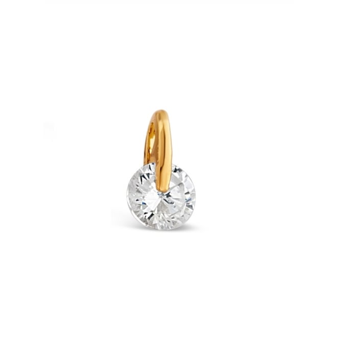 10mm Drop Gold Plated Brilliant Cut Cubic Zirconia Earrings.