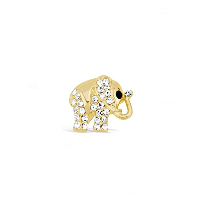 20mm width Cute Gold Plated Crystal Elephant Brooch