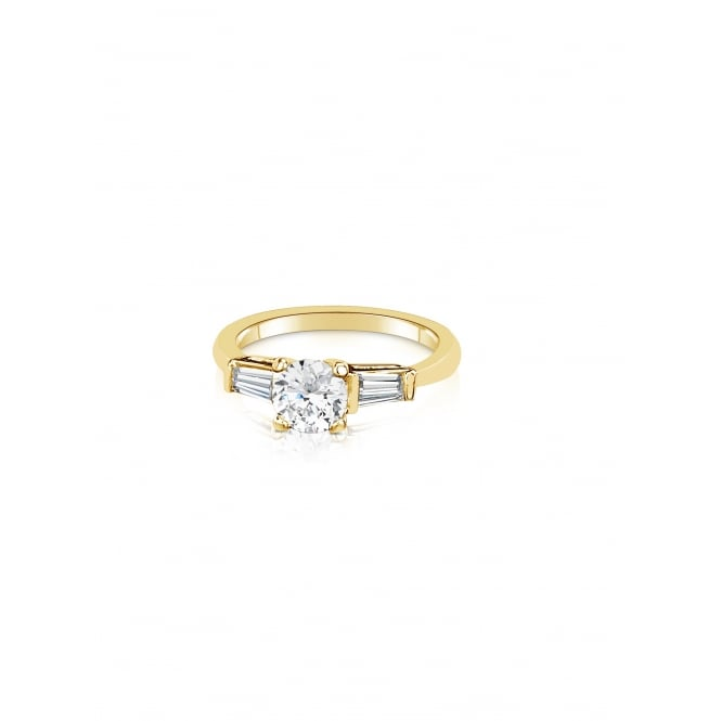 SALE PACK OF TWO Gold Plated Rings with Cubic Zirconia Stones. Unboxed.