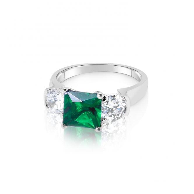 Emerald Colour Rhodium Plated Ring with Cubic Zirconia.