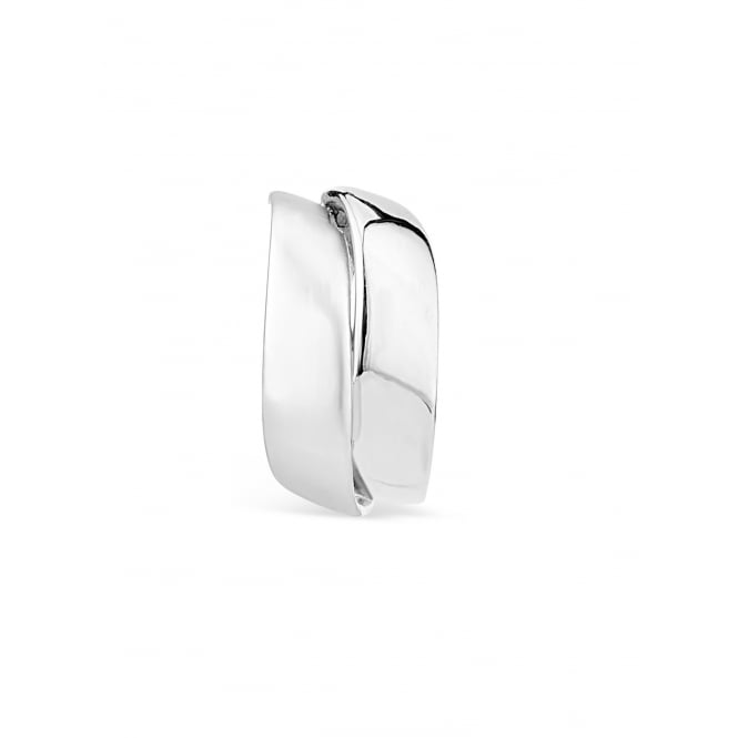 20mm Drop Clip On - Charming Two Tone Rhodium Plated Earrings with Crescent Shaped Positioning.