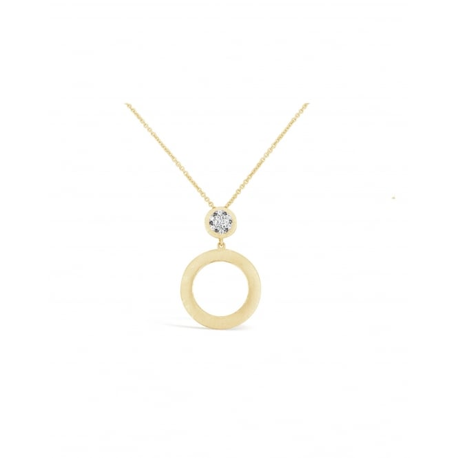 17'' Rhodium and Gold Plated Necklace with Round Matt Satin Disc set with Cubic Zirconia. 20mm Drop.