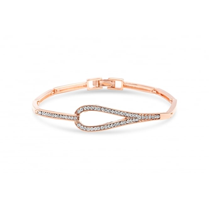 Price for Pack of Two. Rose Gold Plated Bracelet with Circular Link and Crystal Stones.