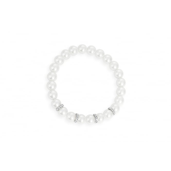 Elasticated Pearl and Crystal Bracelet Imitation Rhodium Plated