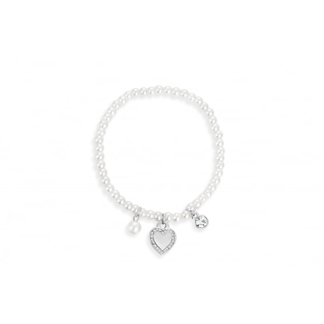 Sweet, Imitation Rhodium Plated, Pearl and Crystal Heart Bracelet