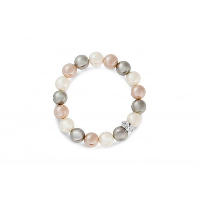 Imitation Rhodium Bracelet with Cream, Light Peach and Grey Glass Pearls and Crystal Stones.