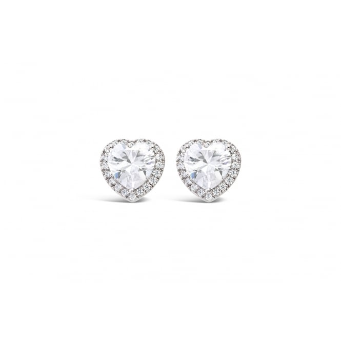 Classic Heart Rhodium Plated Earrings with Cubic Zirconia Stones