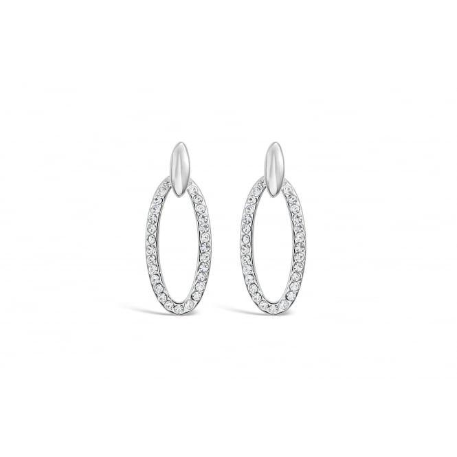 Imitation Rhodium Classic Oval Earrings with Czech Crystal Stones.