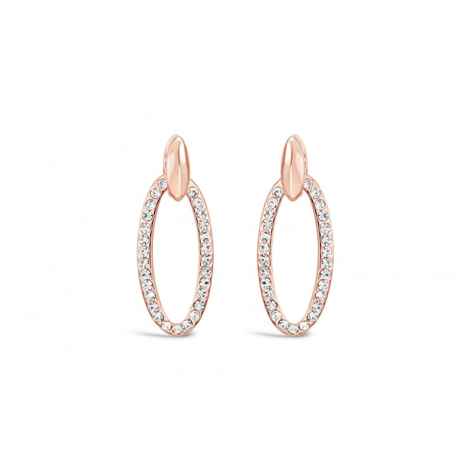 Classic Style Rose Gold Plated Earrings with Czech Crystal Stones