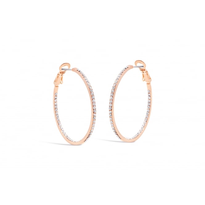 Rose Gold Plated Hoop Earrings with crystal stones.