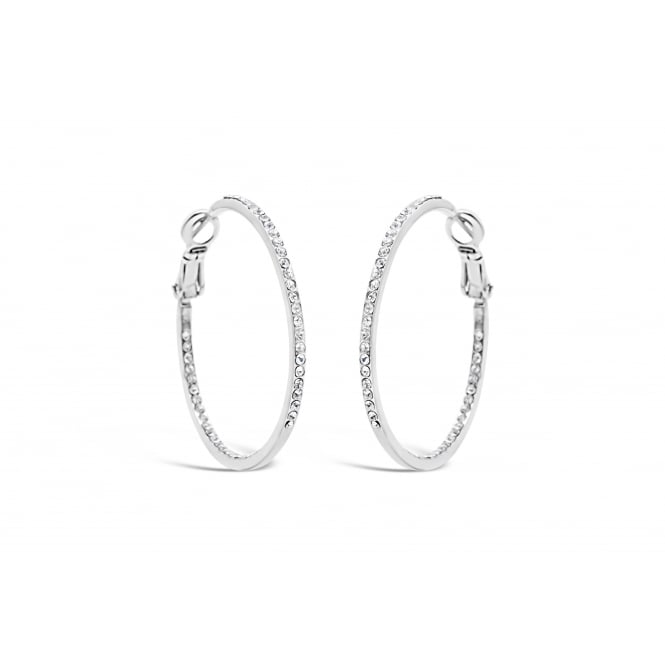 Silver Plated Hoop Earrings with crystal stones.