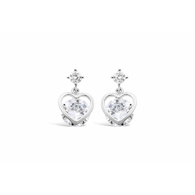 Imitation Rhodium Plated Earrings with Cubic Zirconia 15mm Drop