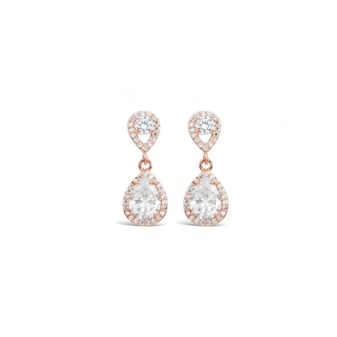 Rose Gold Plated Earrings with Crystal and Cubic Zirconia Stones