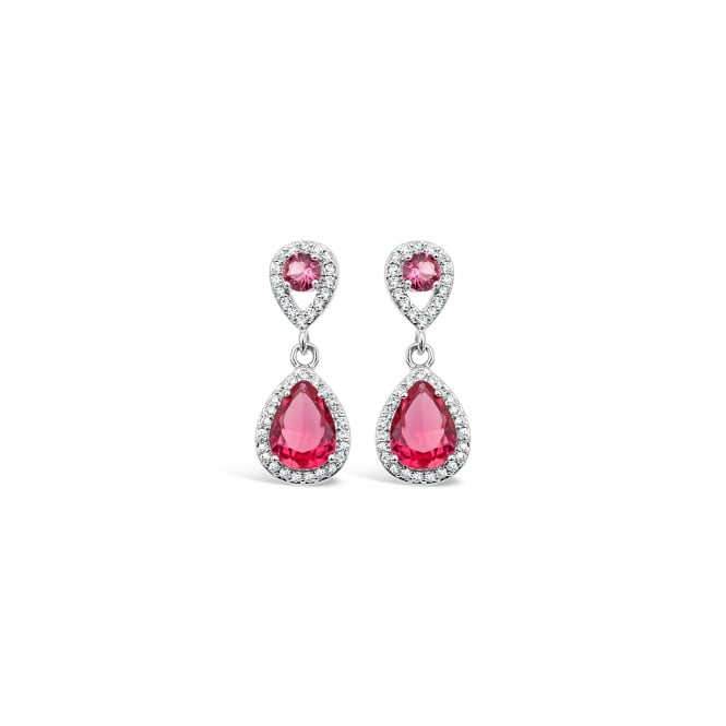 Imitation Rhodium Plated Earrings with Cubic Zirconia and Red Glass Stones.