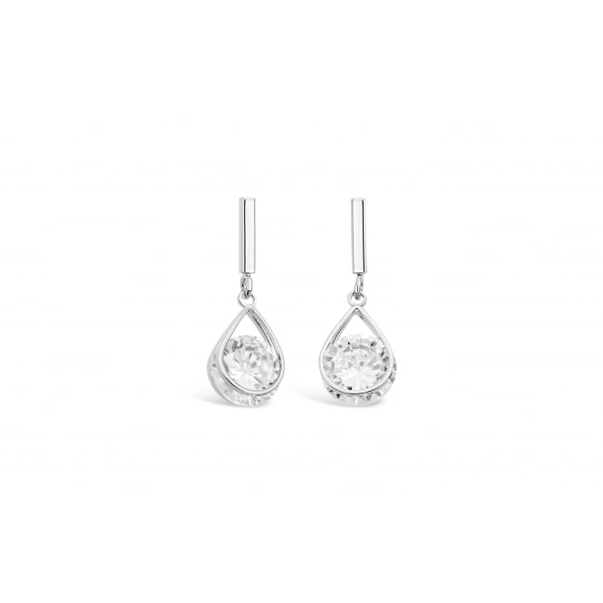 Stunning Cubic Zirconia Tension Set Drop Earrings in Imitation Rhodium Plating.