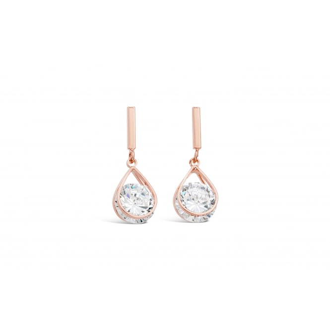 Stunning Cubic Zirconia Drop Earrings Rose Gold Plated.