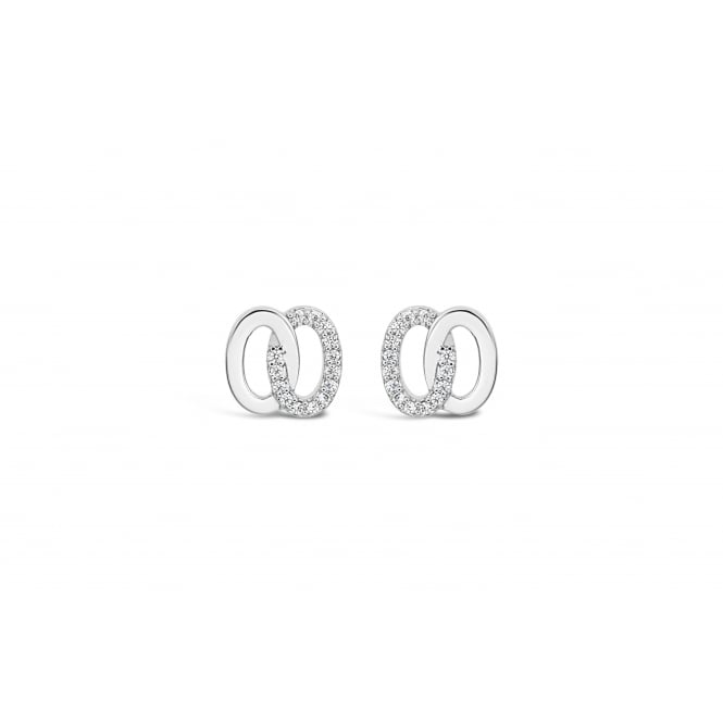 Beautiful Double Ring Cubic Zirconia Imitation Rhodium Earrings.
