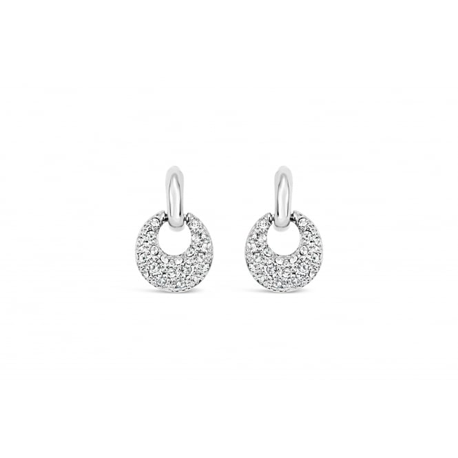Imitation Rhodium Plated Earrings with Crystal Stones 20mm drop