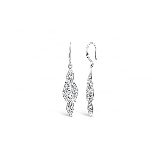 Imitation Rhodium Plated Earrings 52mm drop with Crystal China Stones