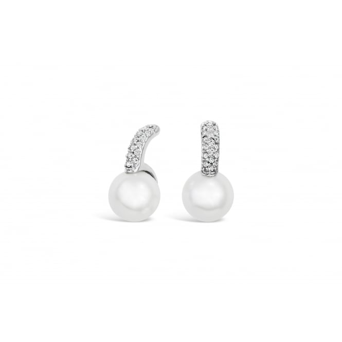 Lovely 12mm Cream Glass Pearl and Cystal Stud Earrings.