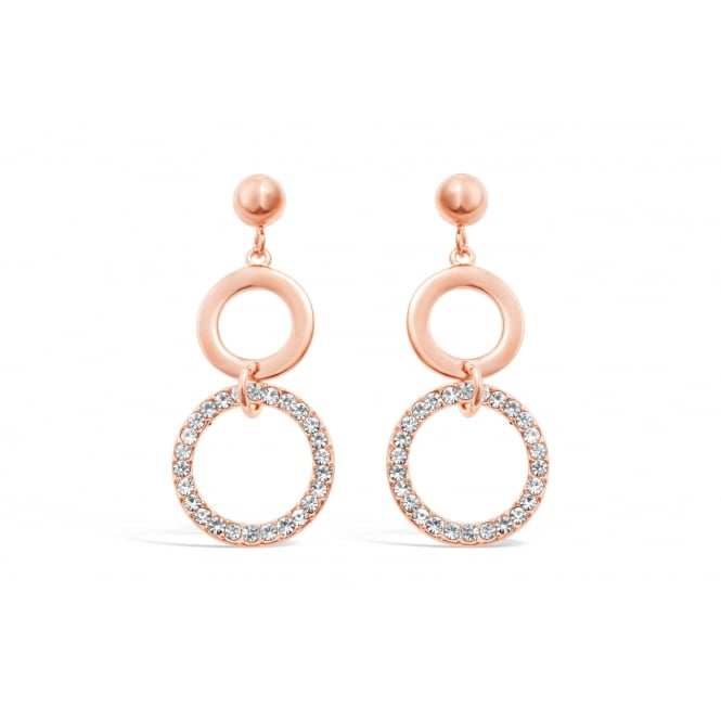 Double Ring Drop Rose Gold Plated Earrings 41mm Drop Crystal Stone Set