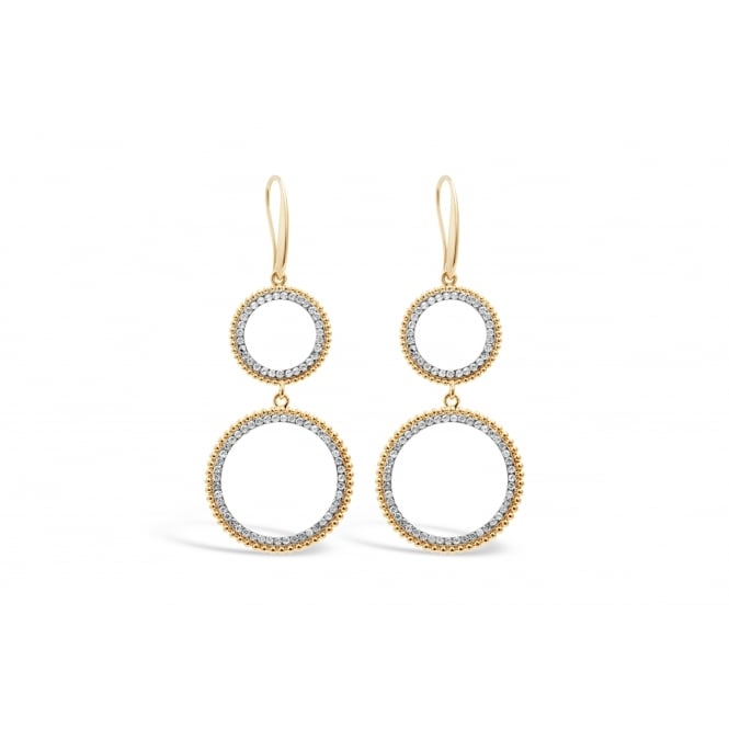Gold Plated Circular Crystal Earrings 66mm Drop