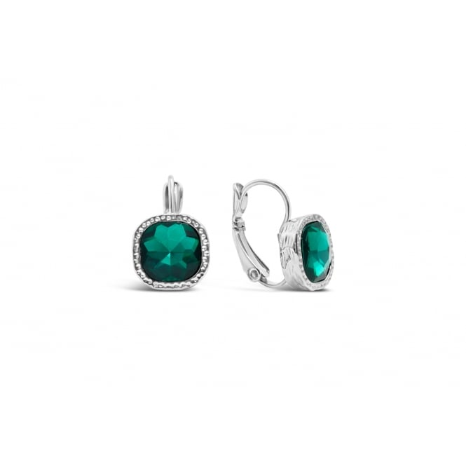Emerald Green Glass Stone with Crystal Surround Imitation Rhodium Plated