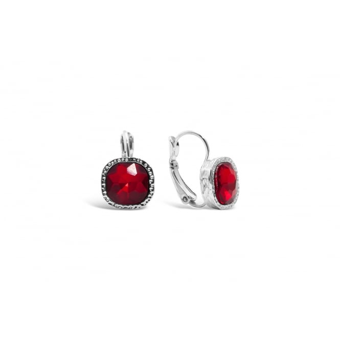 Dark Red Glass Stone with Crystal Surround Imitation Rhodium Plated
