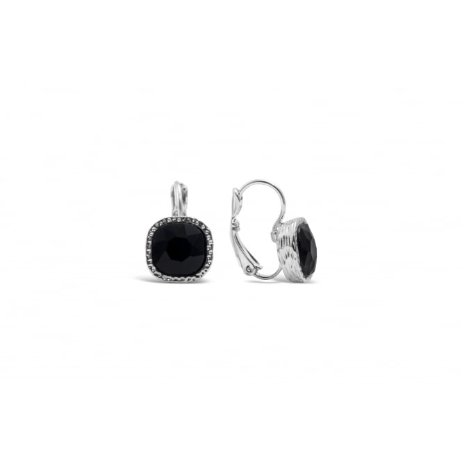 Black Stone with Crystal Surround Imitation Rhodium Plated Earrings