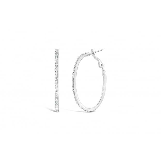 Imitation Rhodium Plated Hoop Earrings with Crystal Stones.