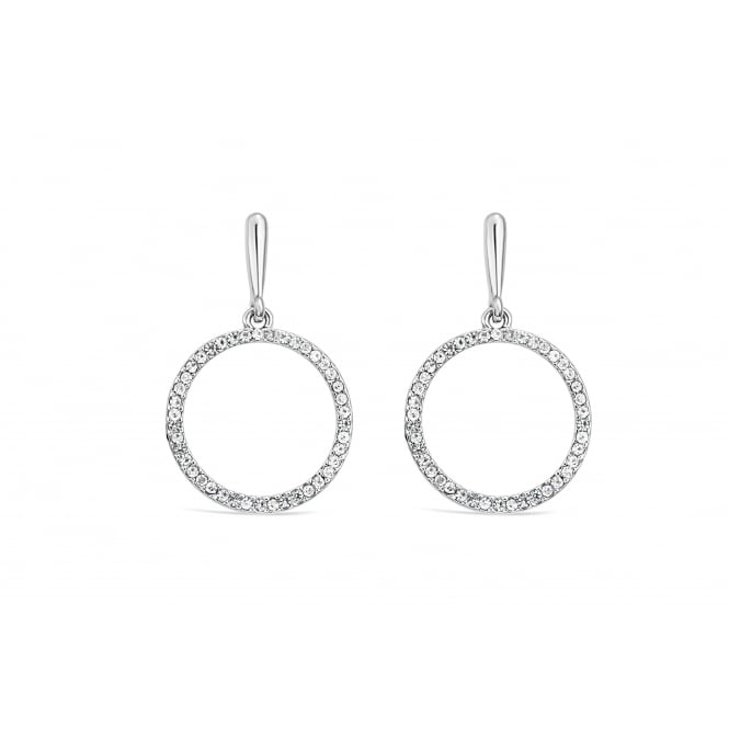 Imitation Rhodium Plated Hoop Earrings 34mm Drop