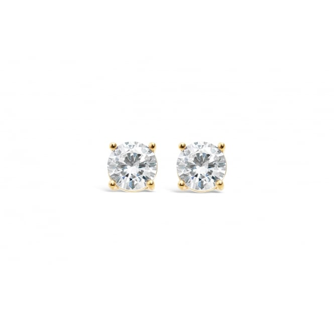 Classic Single Stone Gold Plated Stud Earrings.