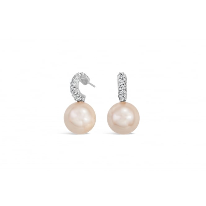 Imitation Rhodium Earrings with Cream, Light Peach and Grey Glass Pearls and Crystal Stones.
