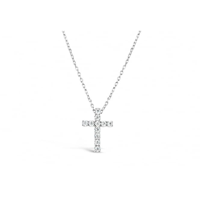 Lovely Rhodium Plated Cross Necklace with Cubic Zirconia Stones.