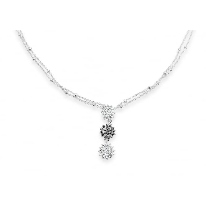 Price for Pack of Two. Delicate Crystal and Hematite 16'' Rhodium Plated Necklace
