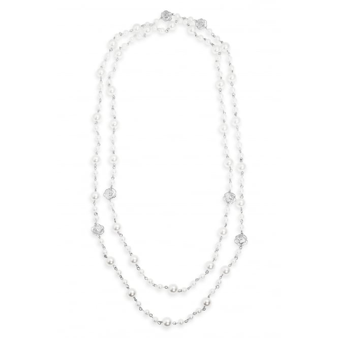Beautiful Cream Pearl and Crystal 32''Long Necklace, Pouch