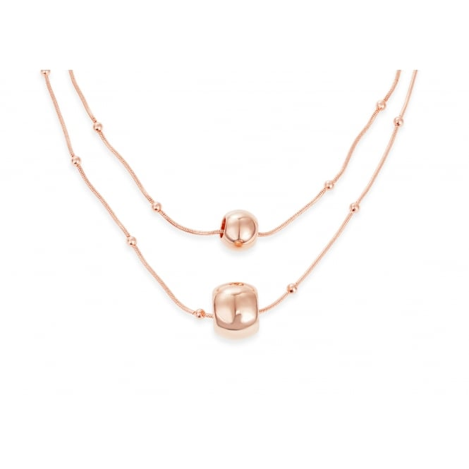 Gorgeous Rose Gold Plated Double Layer With Ball Necklace