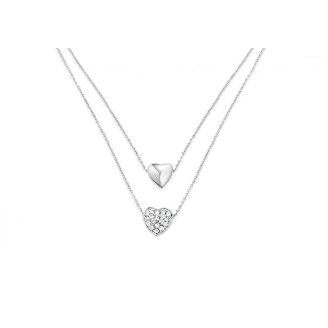 Price for Pack of Two. Double Layered Crystal Encrusted Heart Necklace Imitation Rhodium Plated