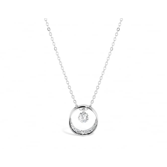 Price for Pack of Two. Simple Cubic Zirconia 16'' Long Chain Imitation Rhodium Plated Pendant