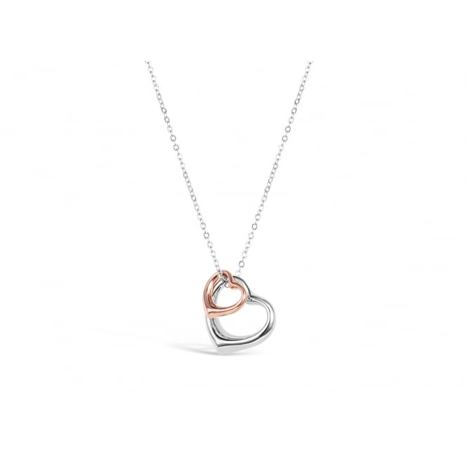 vDouble Heart 16'' Long Rose Gold and Imitation Rhodium Plated Necklace