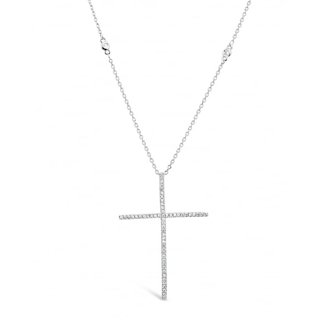 Beautiful 16'' Long Cross Imitation Rhodium Plated Cubic Zirconia Necklace