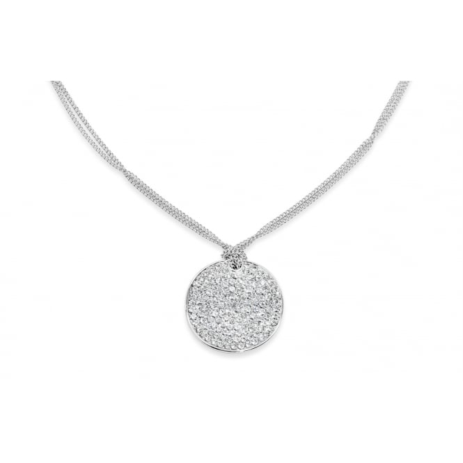 Price for Pack of Two. Imitation Rhodium Plated Necklace with Circular Pendant.