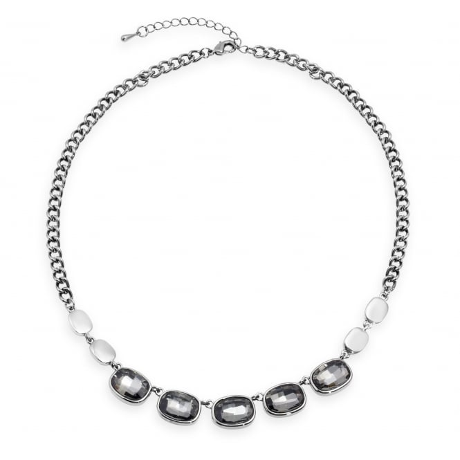 Price for Pack of Two. Gun Metal Crystal Stones Hematite Imitation Rhodium Plated Necklace.