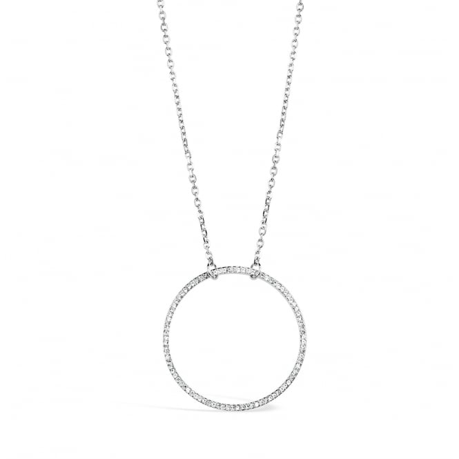 30'' Long Crystal Set Imitation Rhodium Plated Circular Necklace, Pouch.