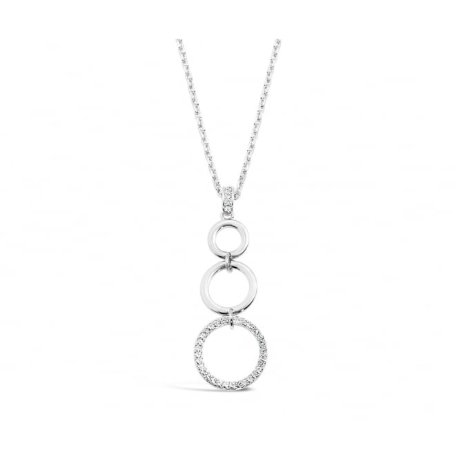 30'' Long Imitation Rhodium Plated Crystal Stoned Triple Ring Necklace. Pouch.