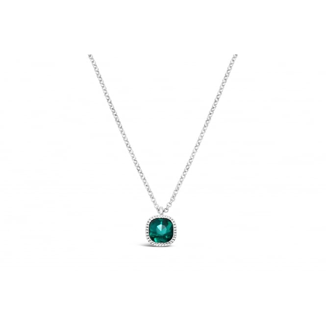 Emerald Green Glass Stone with Crystal Surround Imitation Rhodium Plated 15'' Long Necklace