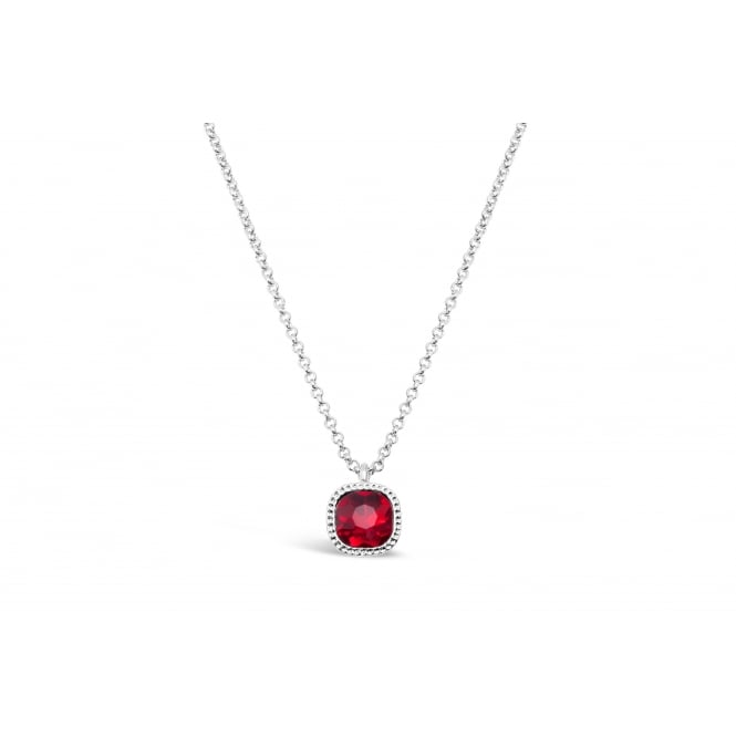 Dark Red Glass Stone with Crystal Surround Imitation Rhodium Plated 15'' Long Necklace