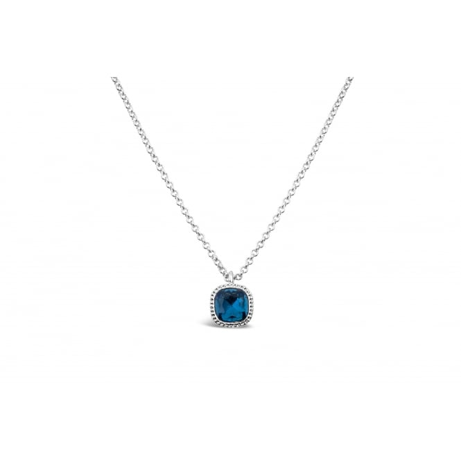 Dark Blue Glass Stone with Crystal Surround Imitation Rhodium Plated 15'' Long Necklace